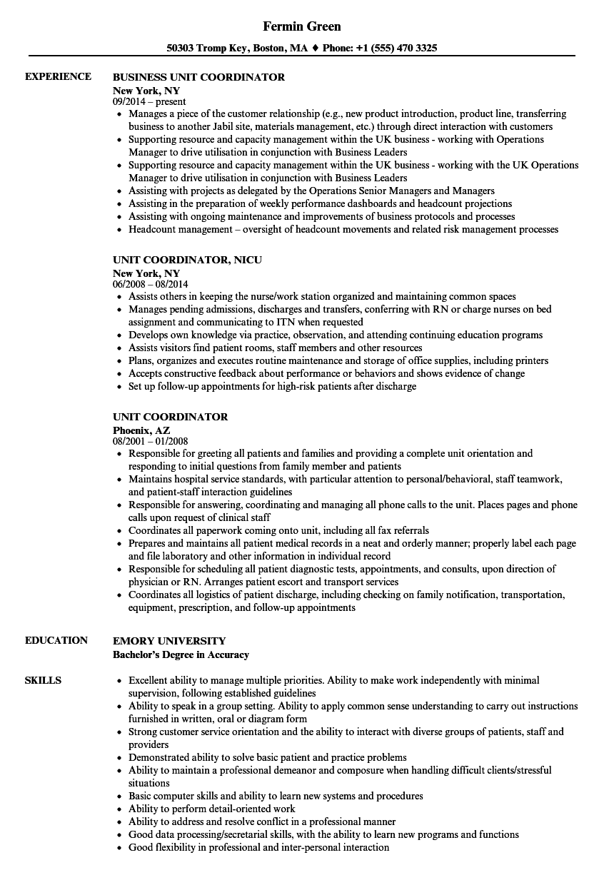 unit resume sample