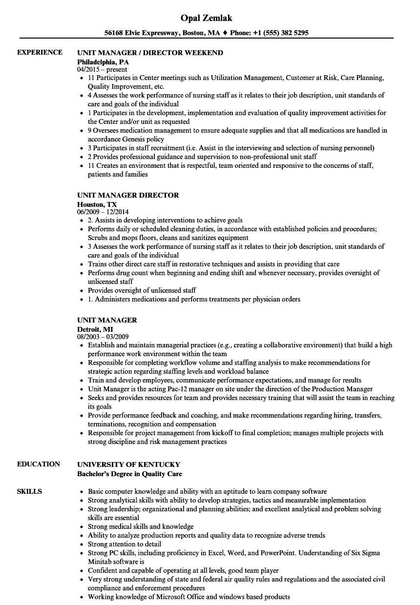 unit manager resume samples