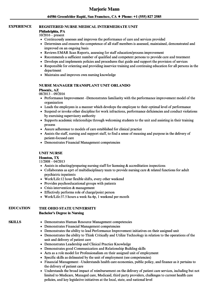 Download Unit Nurse Resume Sample As Image File