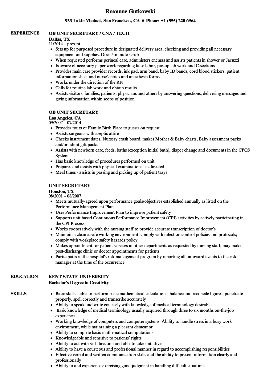 download unit secretary resume sample as image file - Secretary Resume Sample