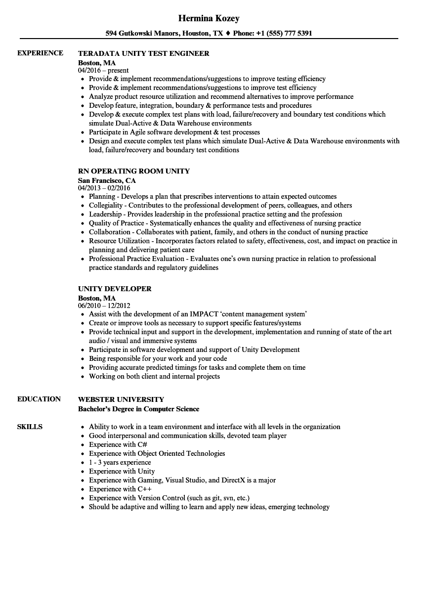 Unity Resume Samples Velvet Jobs