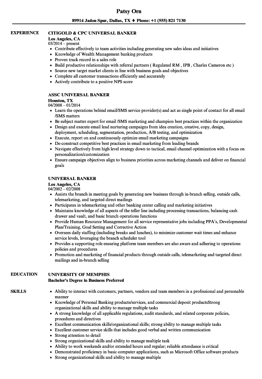Download Universal Banker Resume Sample As Image File