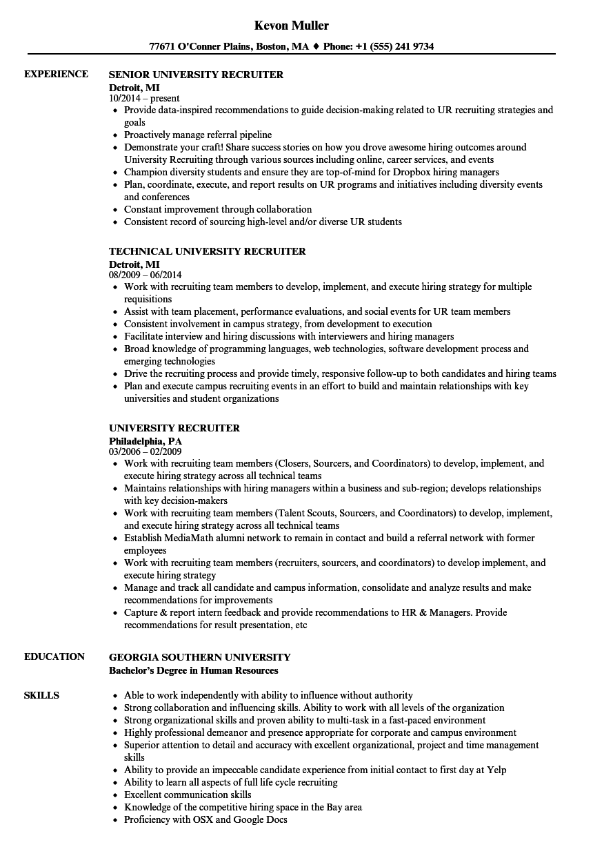 University Recruiter Resume Samples | Velvet Jobs