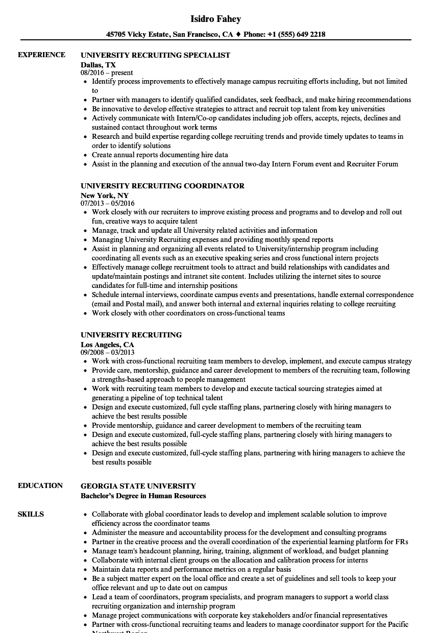 download university recruiting resume sample as image file - Recruiting Resume Sample