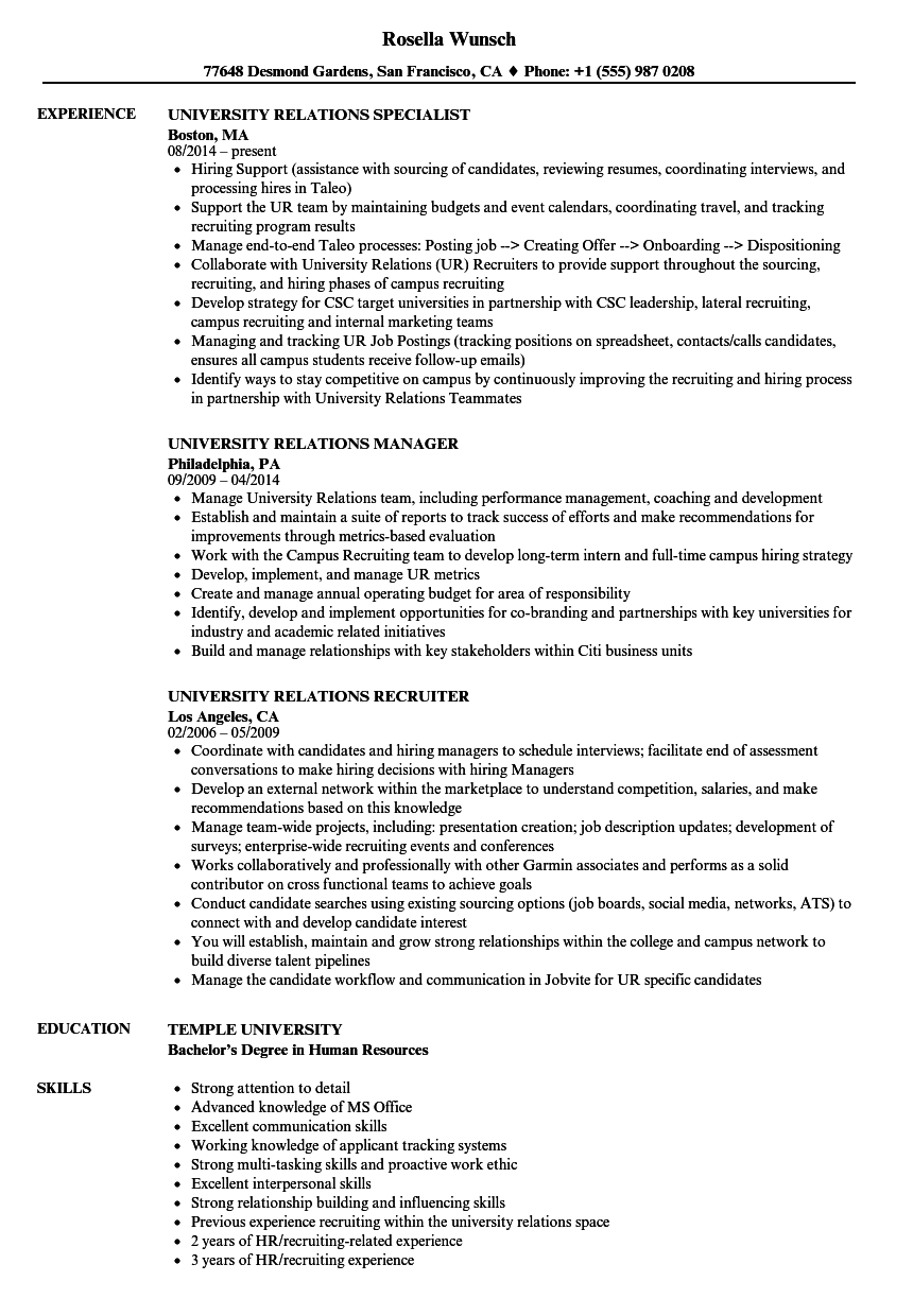 university relations resume samples
