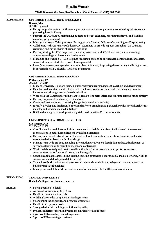 download university relations resume sample as image file grace hopper resume database