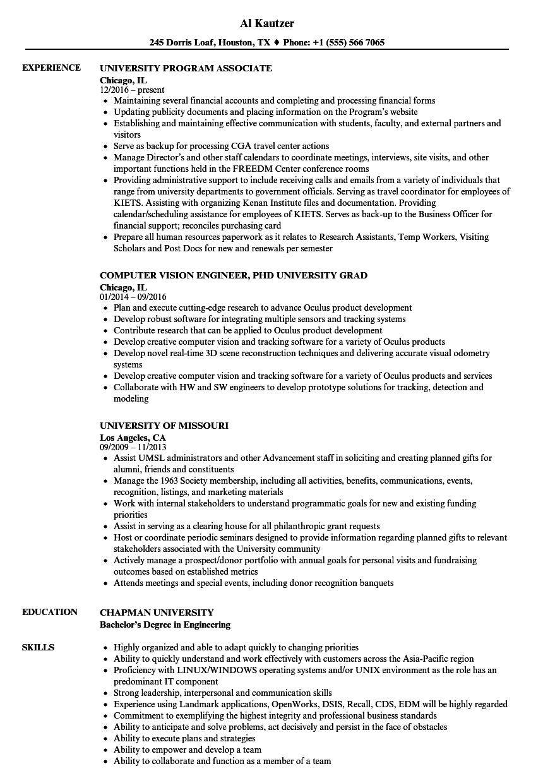 University Resume Samples | Velvet Jobs