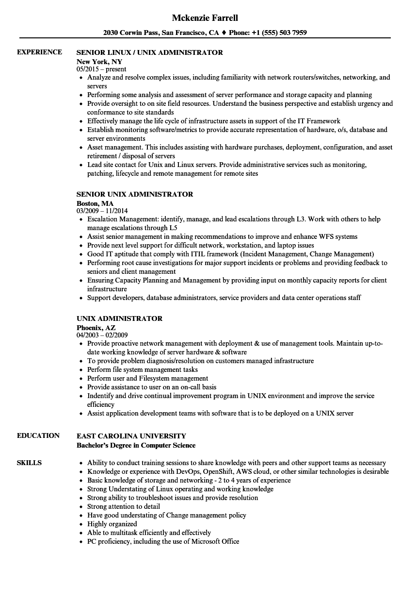Unix Administrator Resume Samples Velvet Jobs