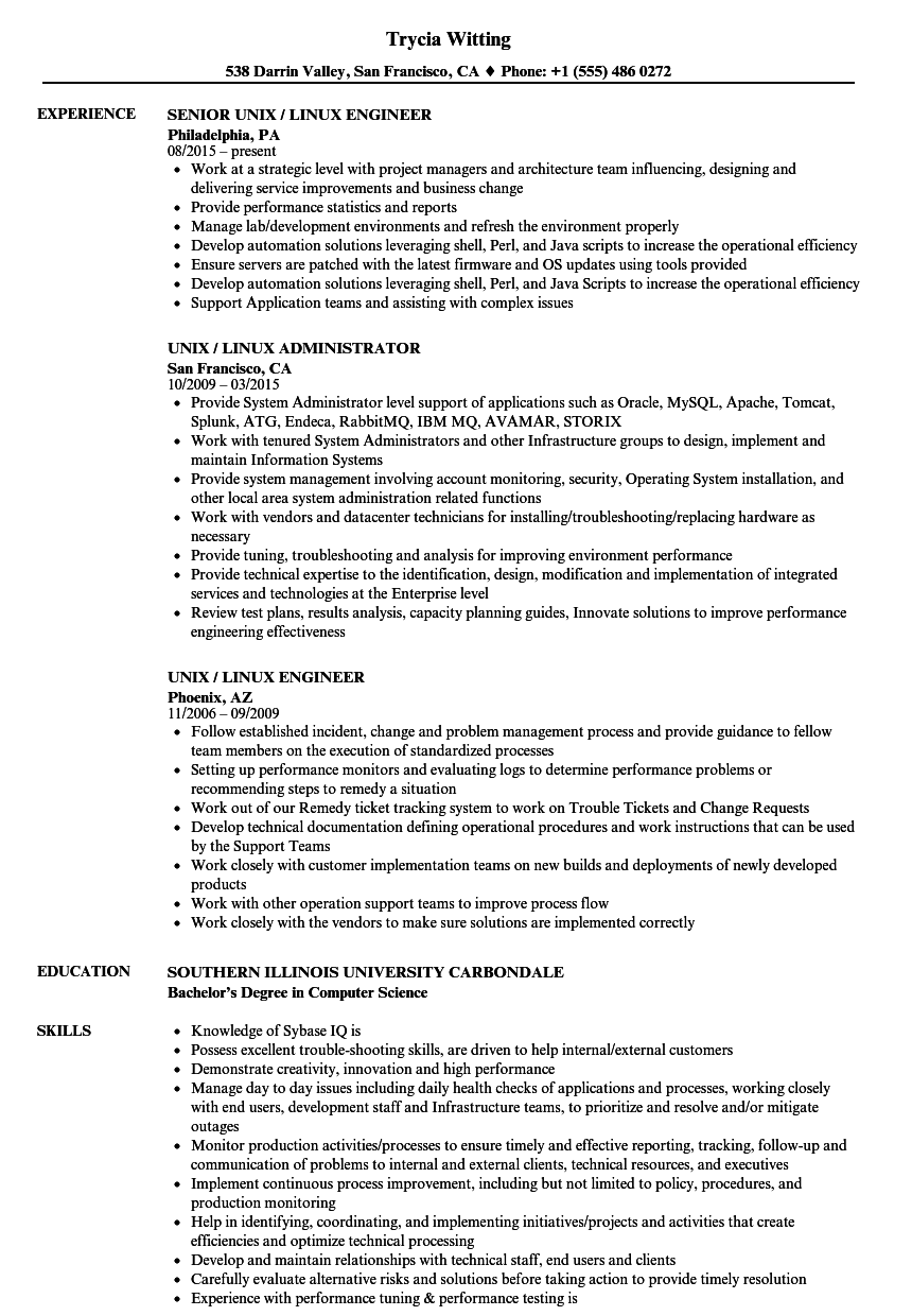 Unix / Linux Resume Samples | Velvet Jobs
