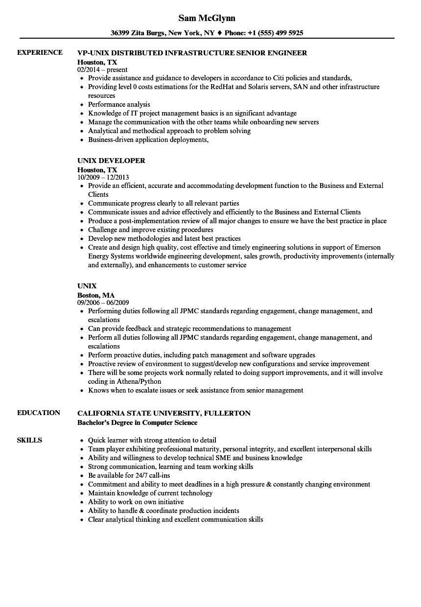 Unix Resume Samples Velvet Jobs