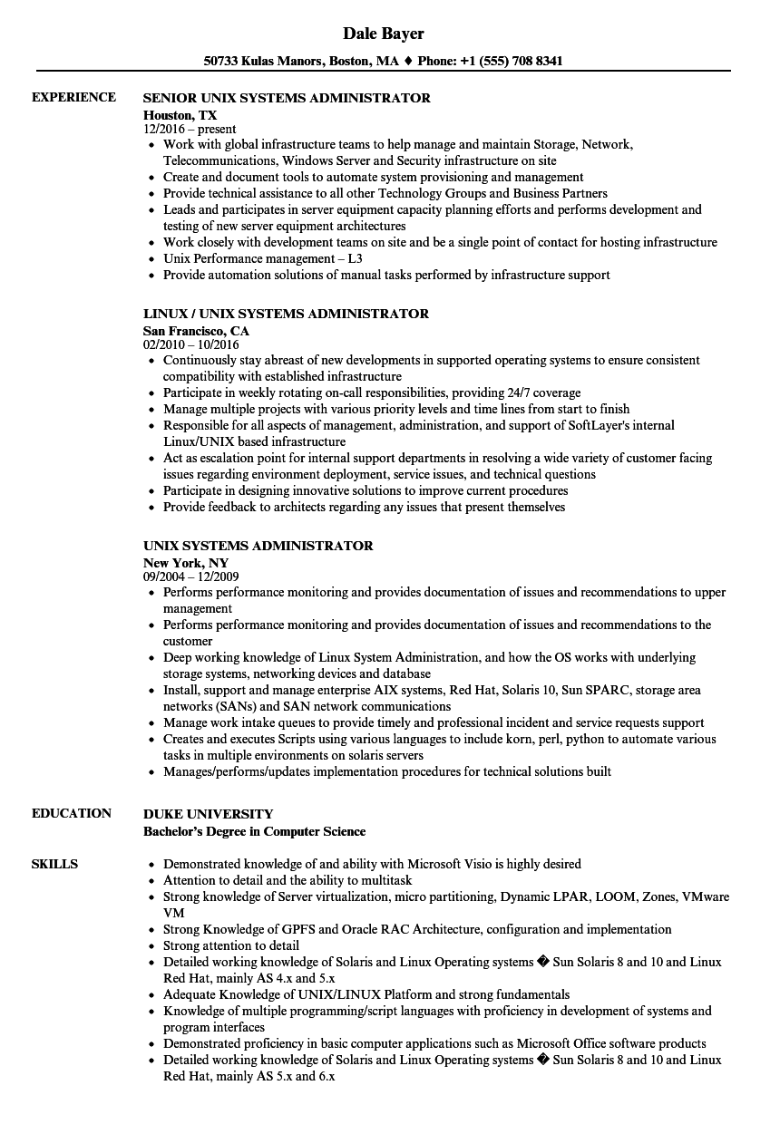 Unix Systems Administrator Resume Samples Velvet Jobs