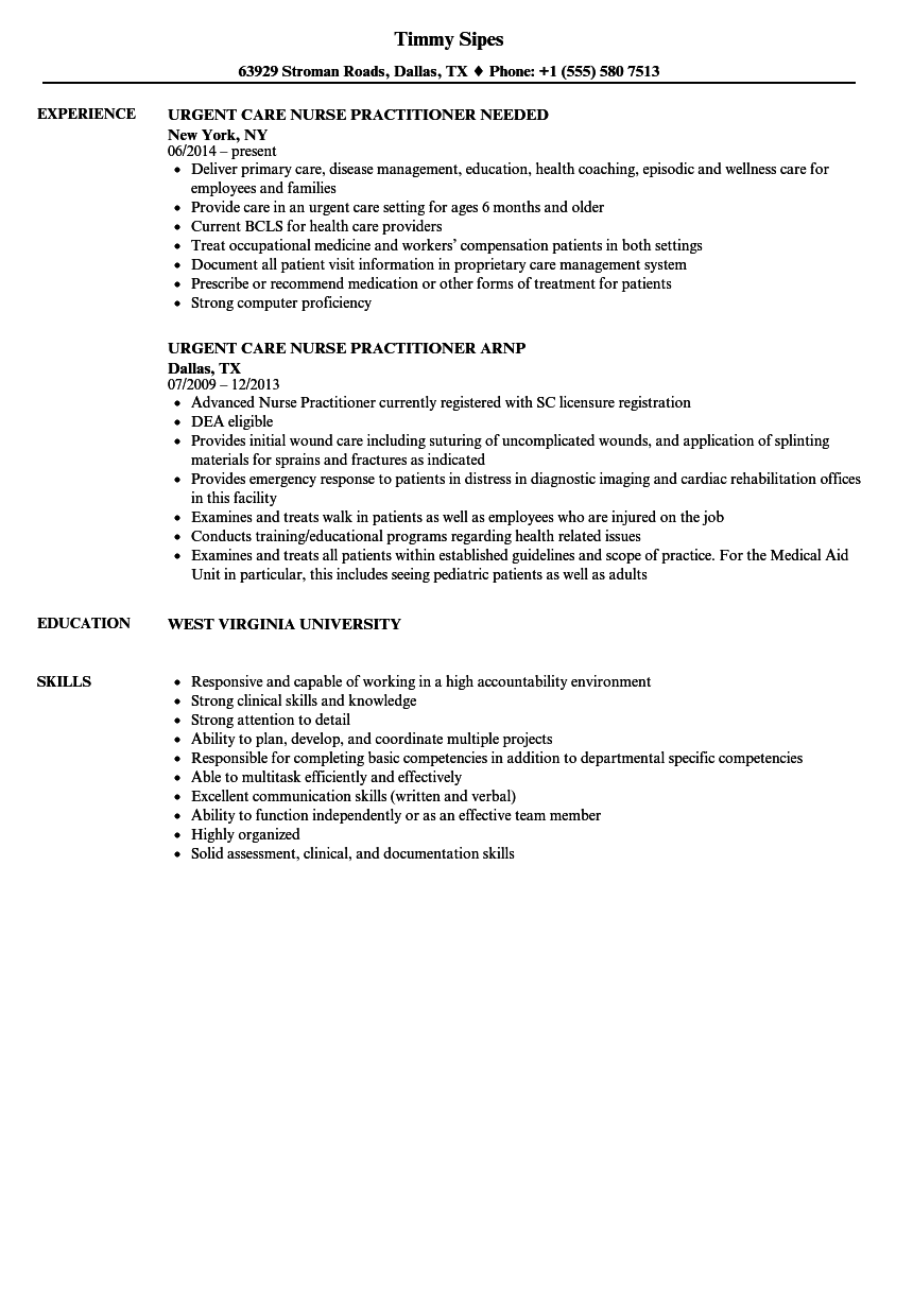 Urgent Care Nurse Practitioner Resume Samples Velvet Jobs