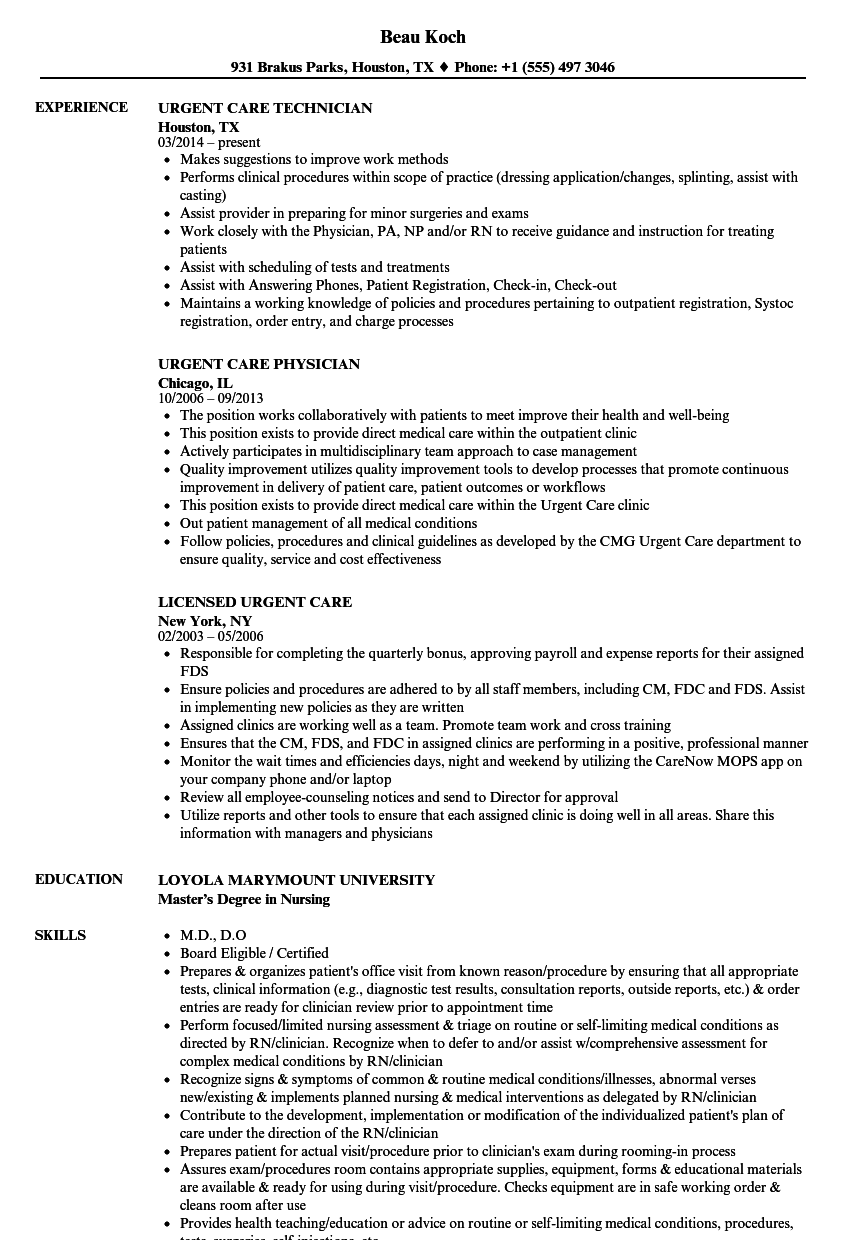 urgent care resume samples