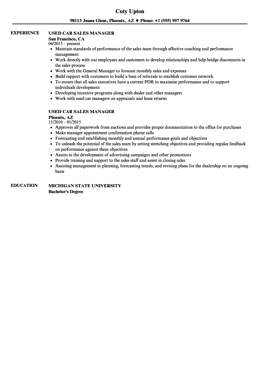 used car sales manager resume samples