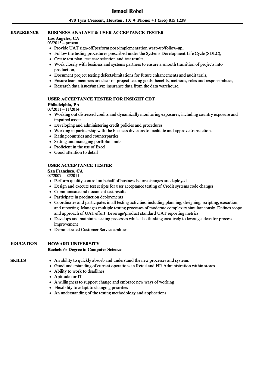 User Acceptance Tester Resume Samples | Velvet Jobs