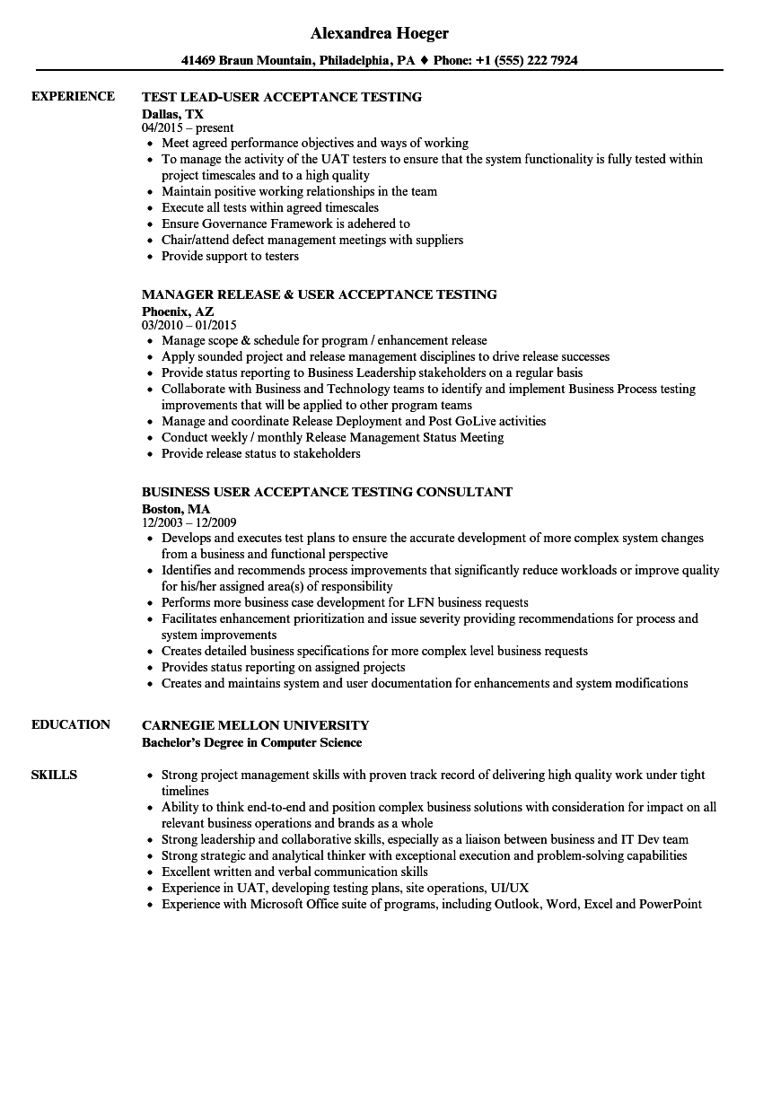 User Acceptance Testing Resume Samples | Velvet Jobs