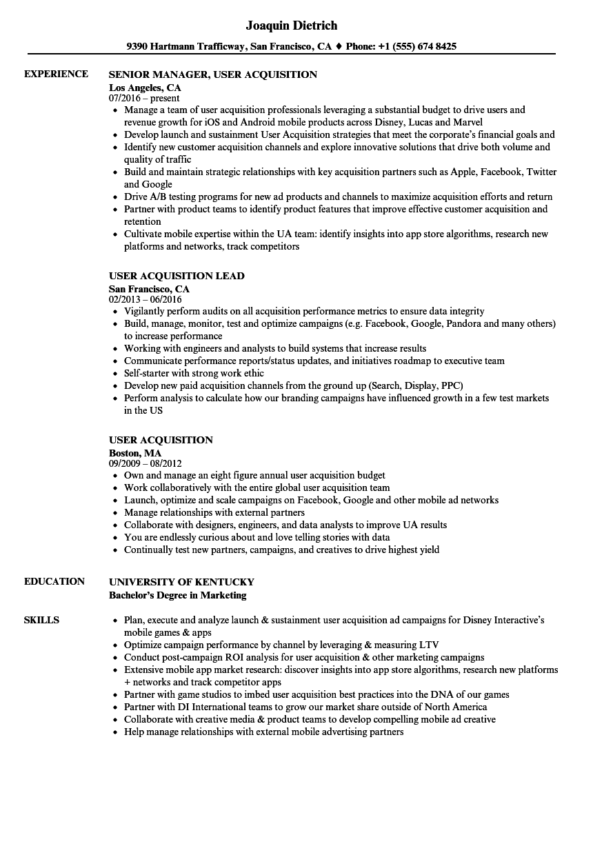 user acquisition resume samples
