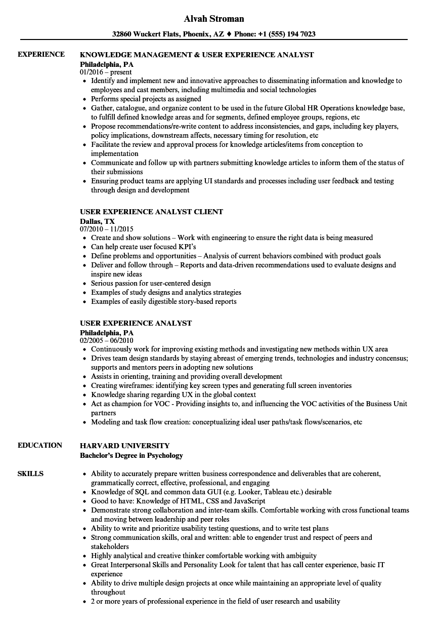 Download User Experience Analyst Resume Sample As Image File