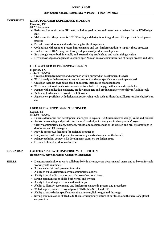 user experience design resume samples