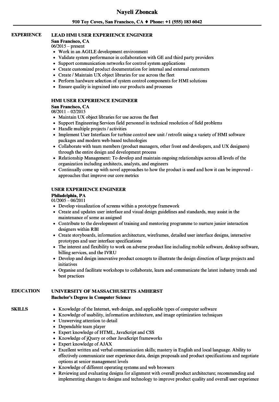 user experience engineer resume samples
