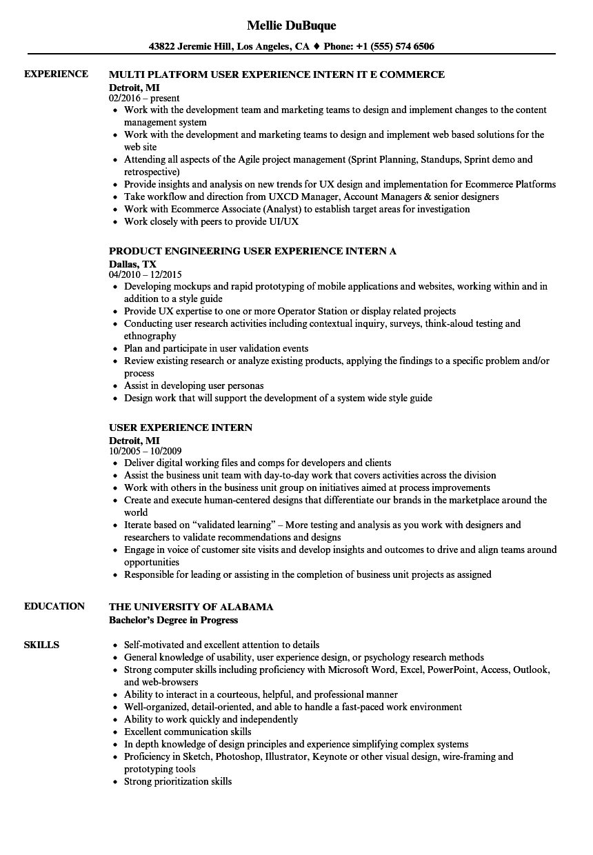User Experience Intern Resume Samples Velvet Jobs