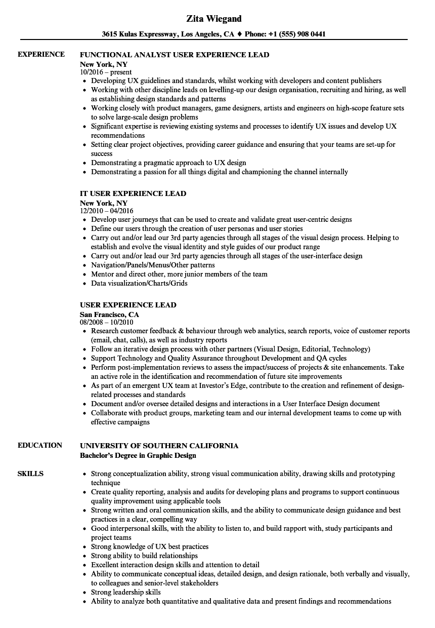 user experience lead resume samples