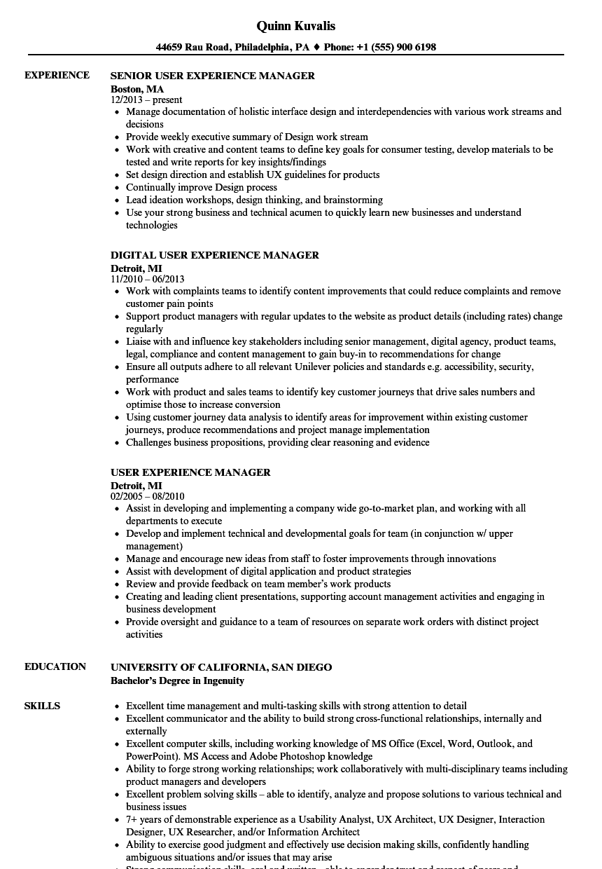 user experience manager resume samples
