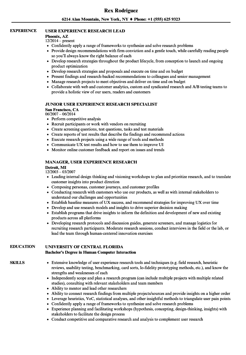 user experience research resume samples