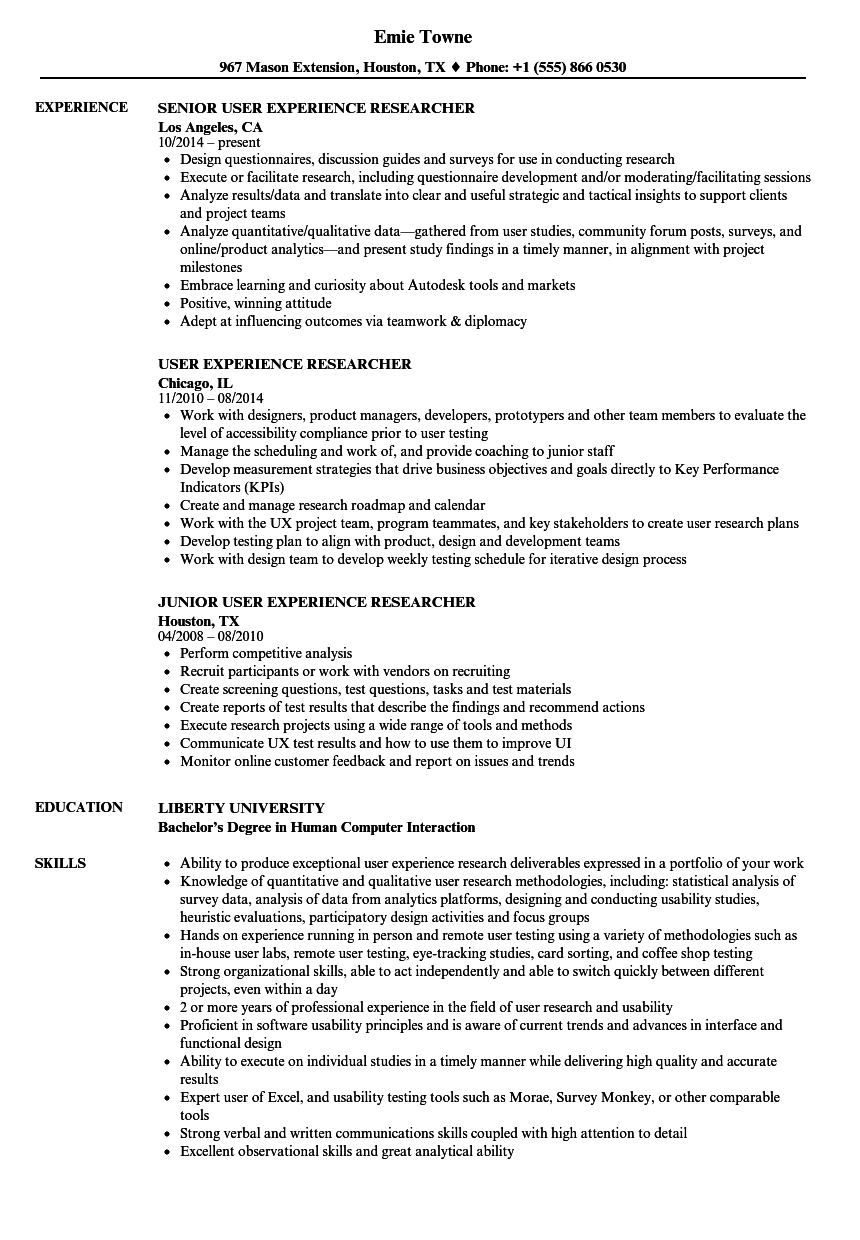 User Experience Researcher Resume Samples Velvet Jobs