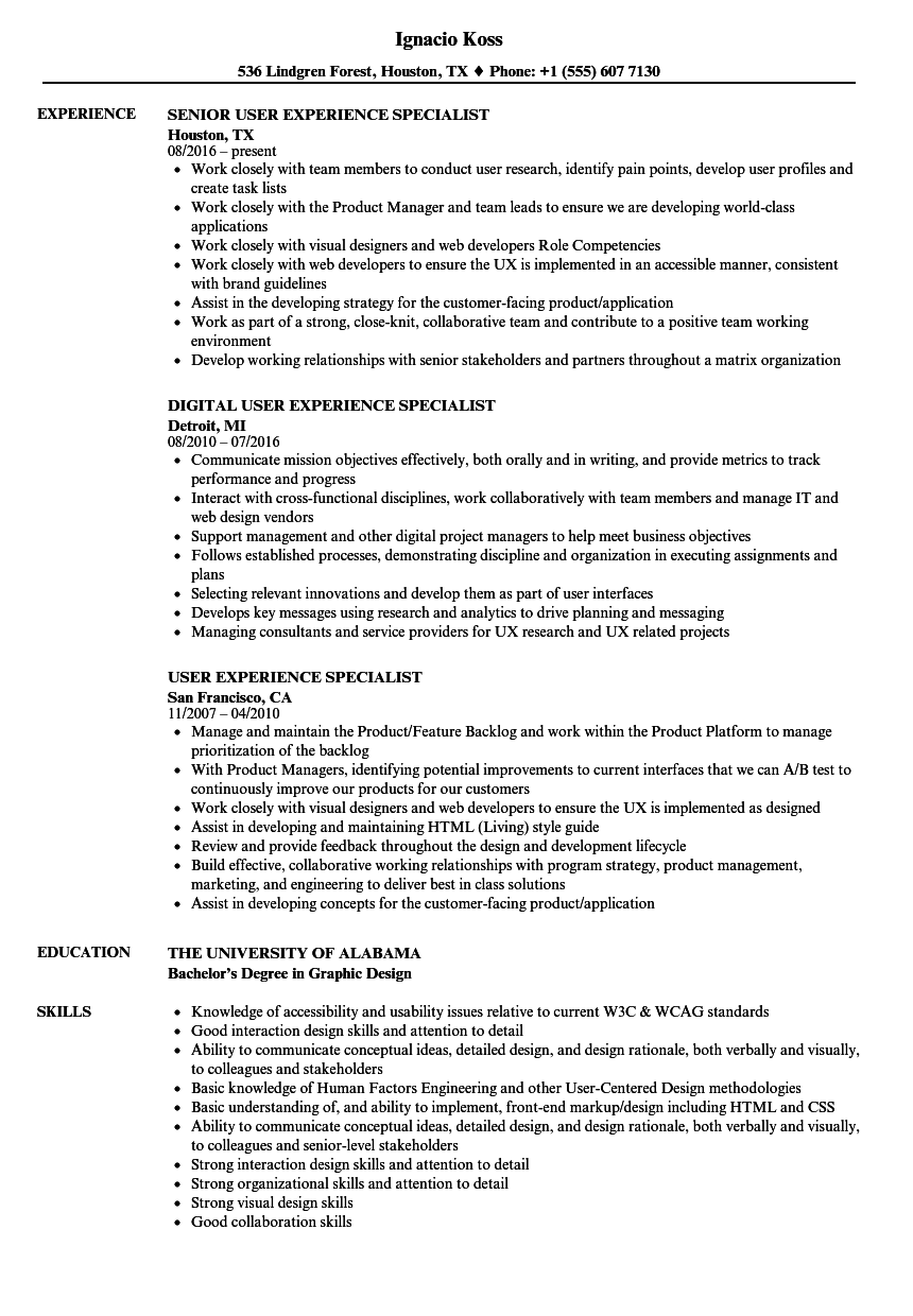 user experience specialist resume samples