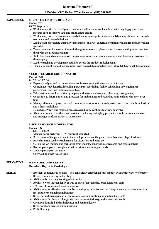 user research resume samples