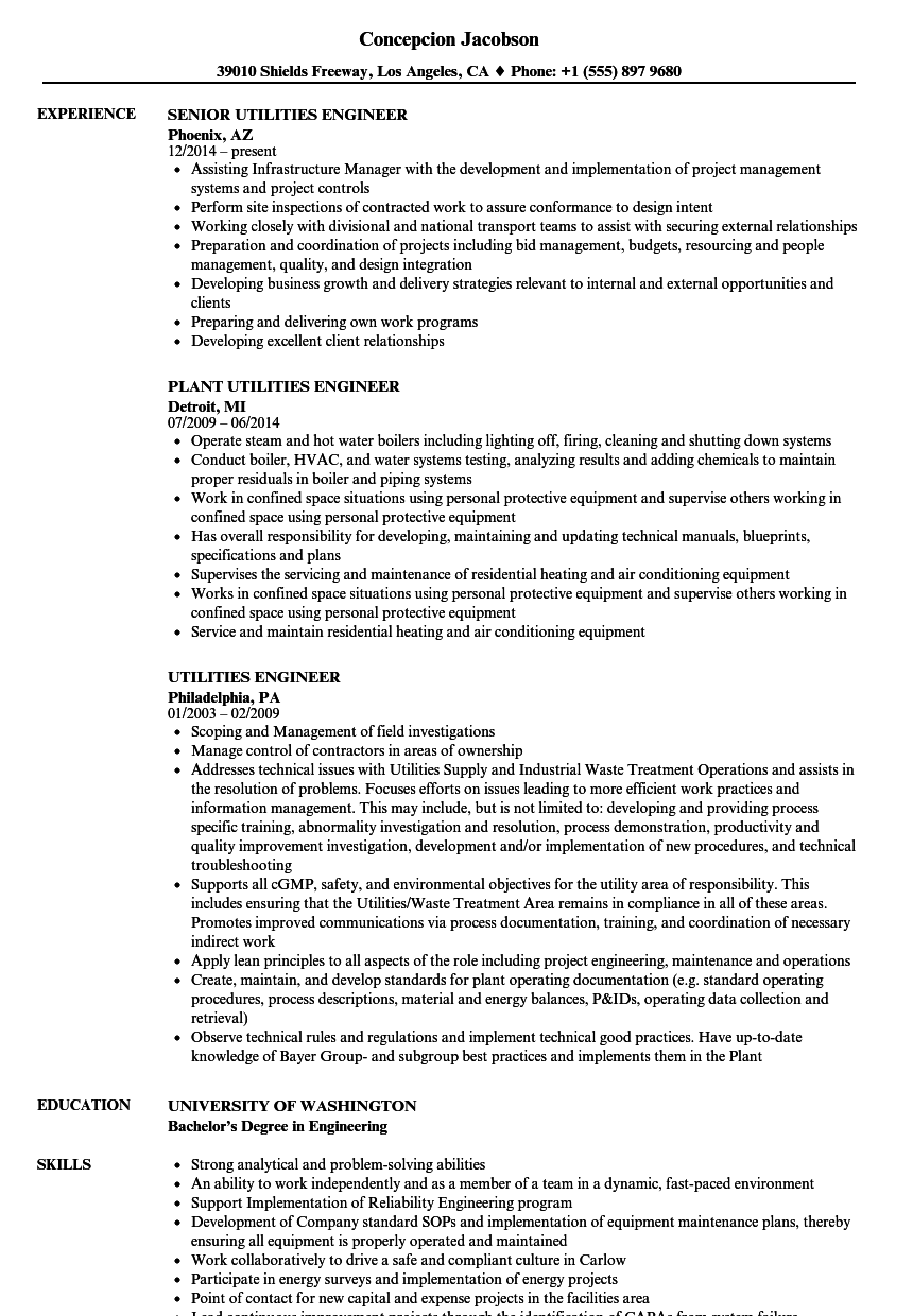 Utilities Engineer Resume Samples | Velvet Jobs