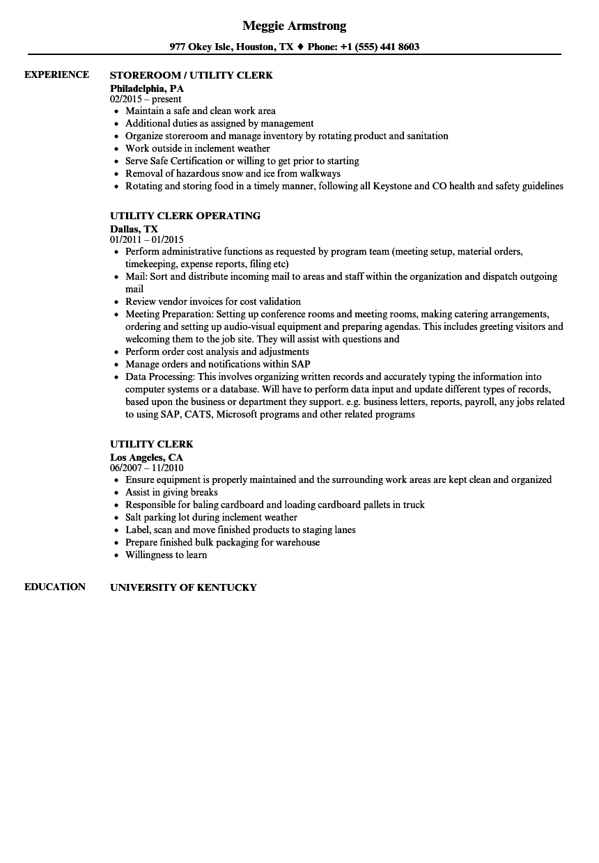 utility clerk resume samples