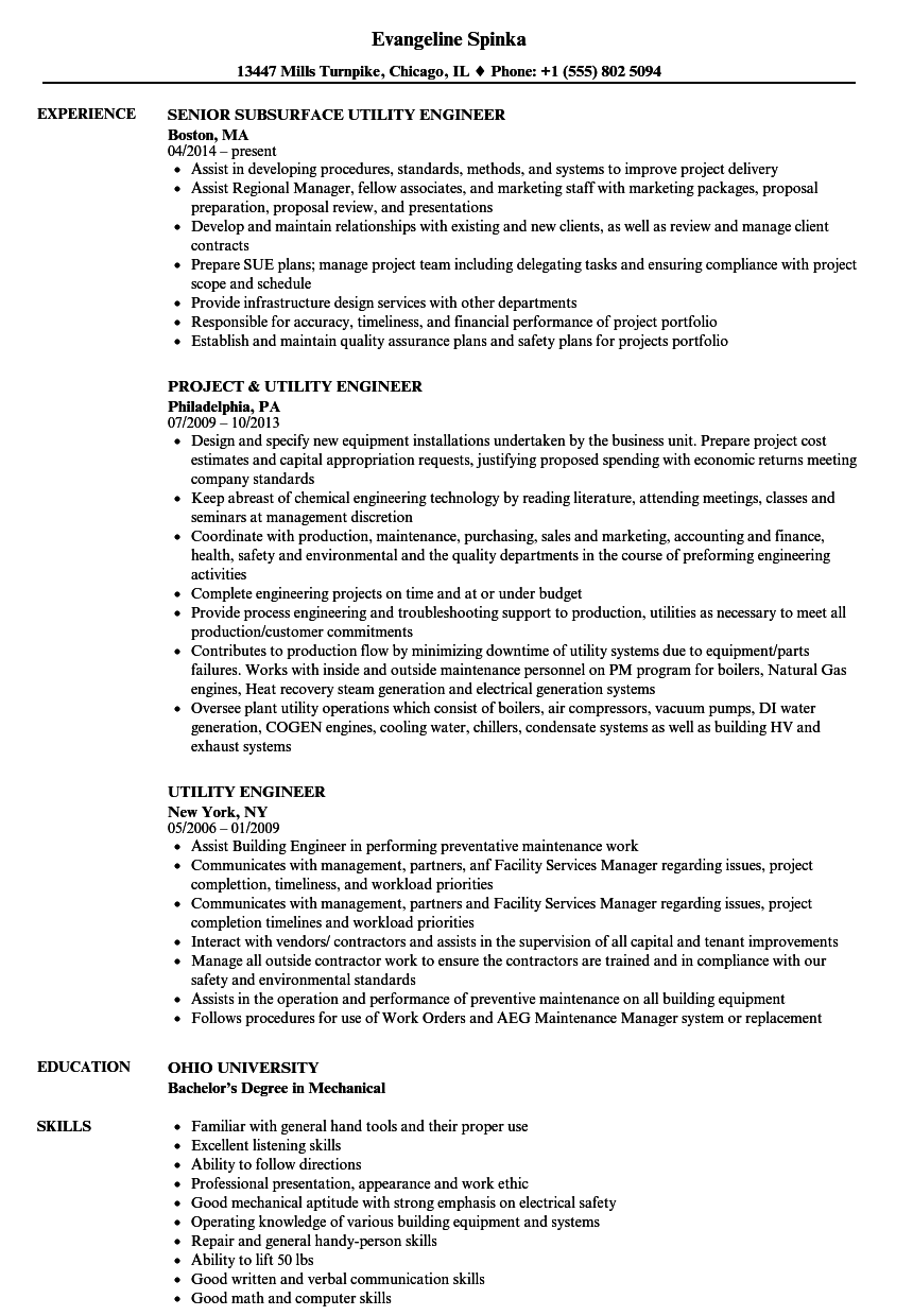 Utility Engineer Resume Samples | Velvet Jobs