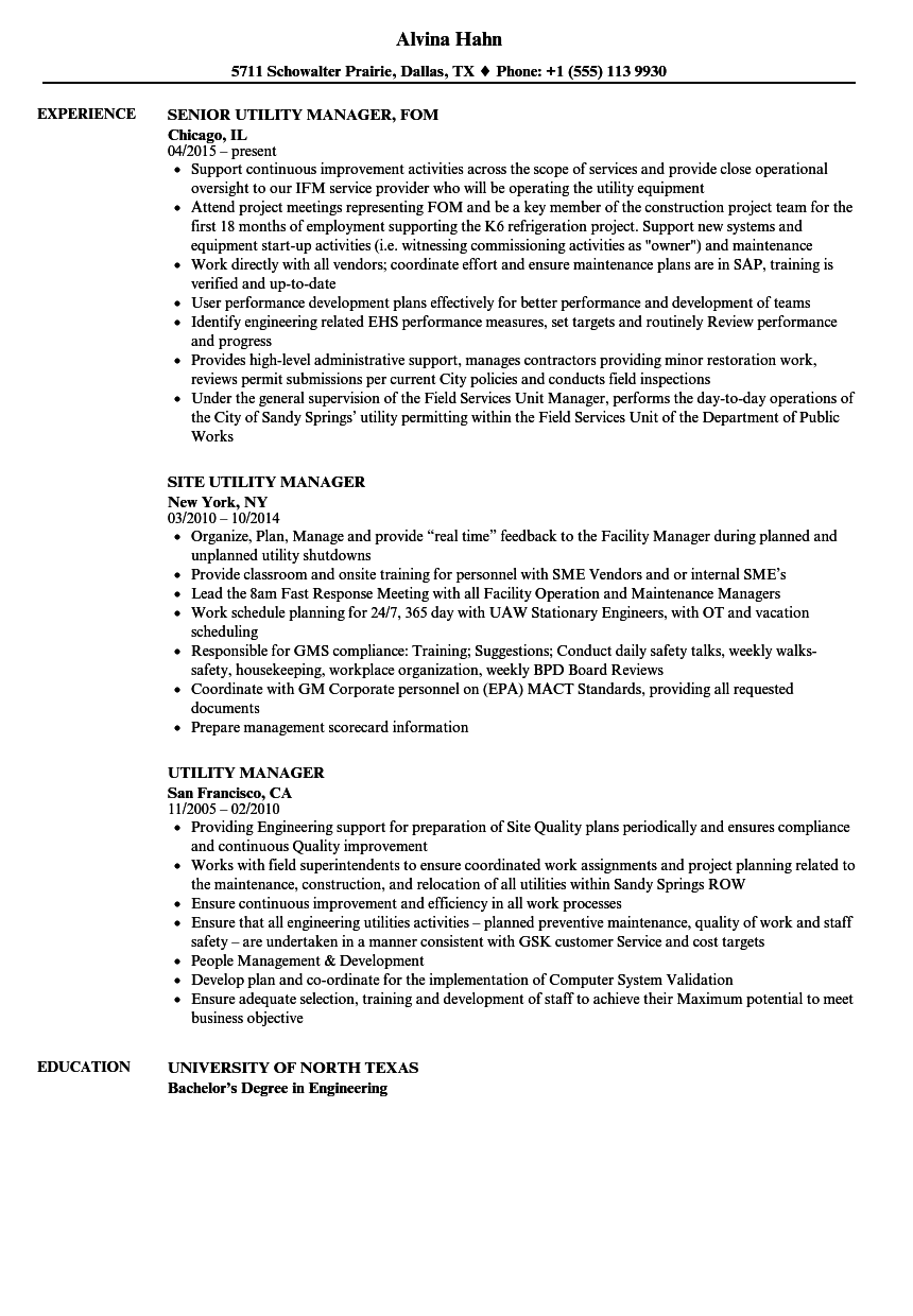 Utility Manager Resume Samples | Velvet Jobs