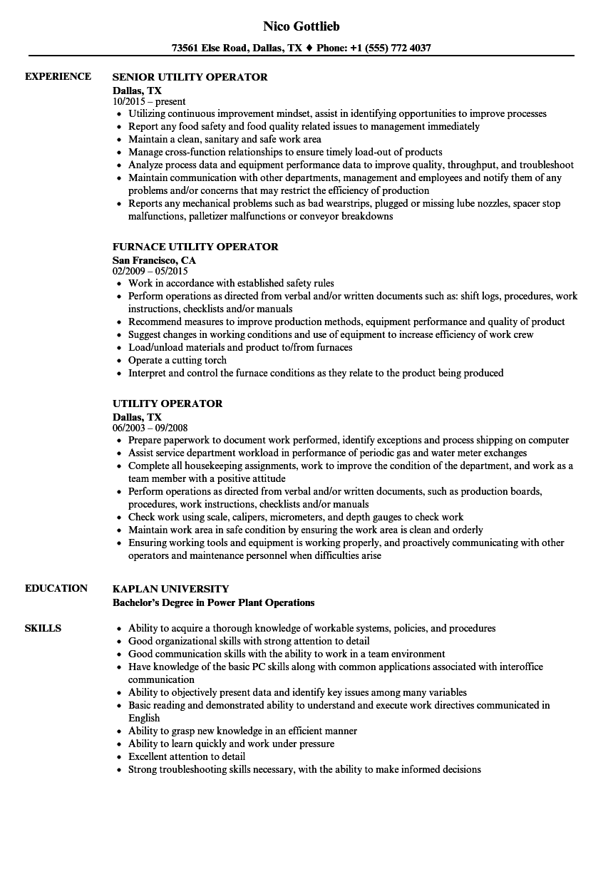 download utility operator resume sample as image file