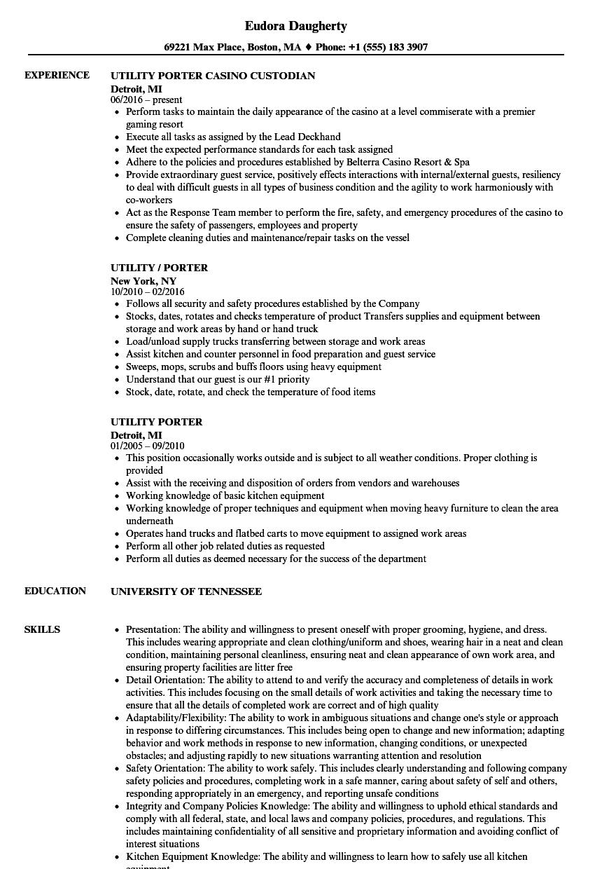 download utility porter resume sample as image file - Kitchen Porter Sample Resume