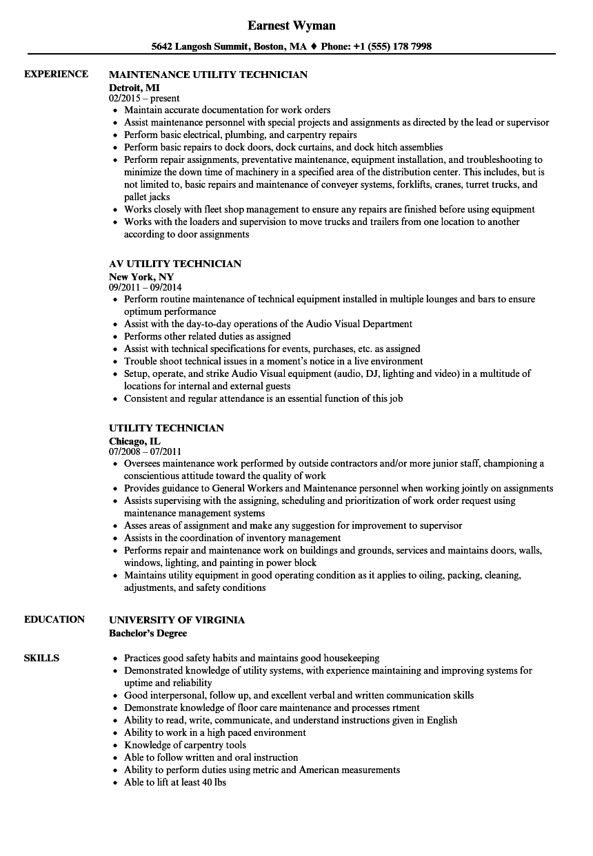 utility technician resume samples