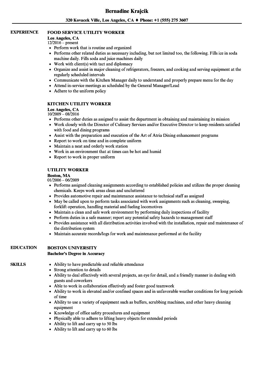 utility worker resume samples
