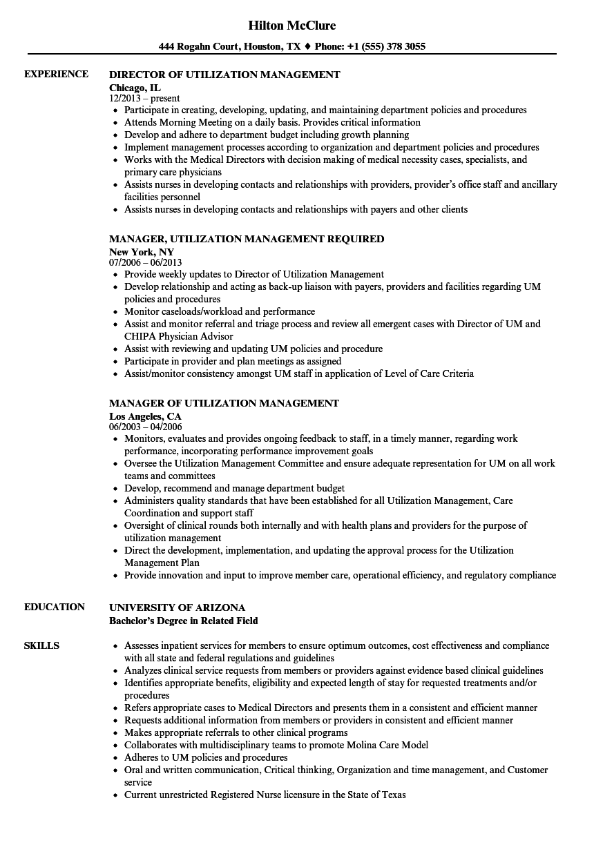 Utilization Management Resume Samples | Velvet Jobs