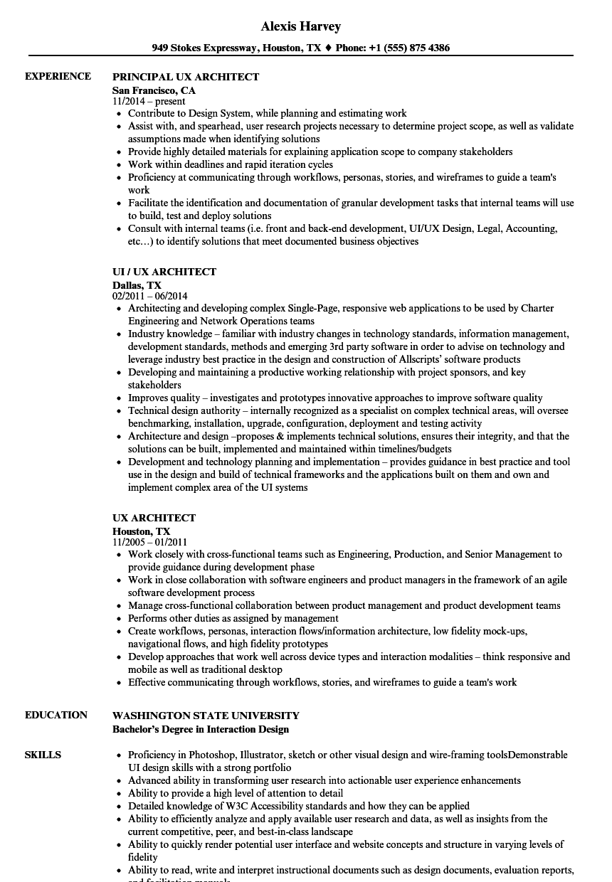 download ux architect resume sample as image file principal architect sample resume - Principal Architect Sample Resume