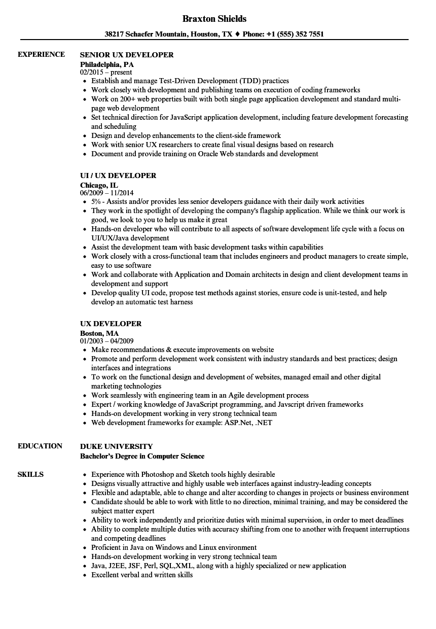 Ux Developer Resume Samples Velvet Jobs