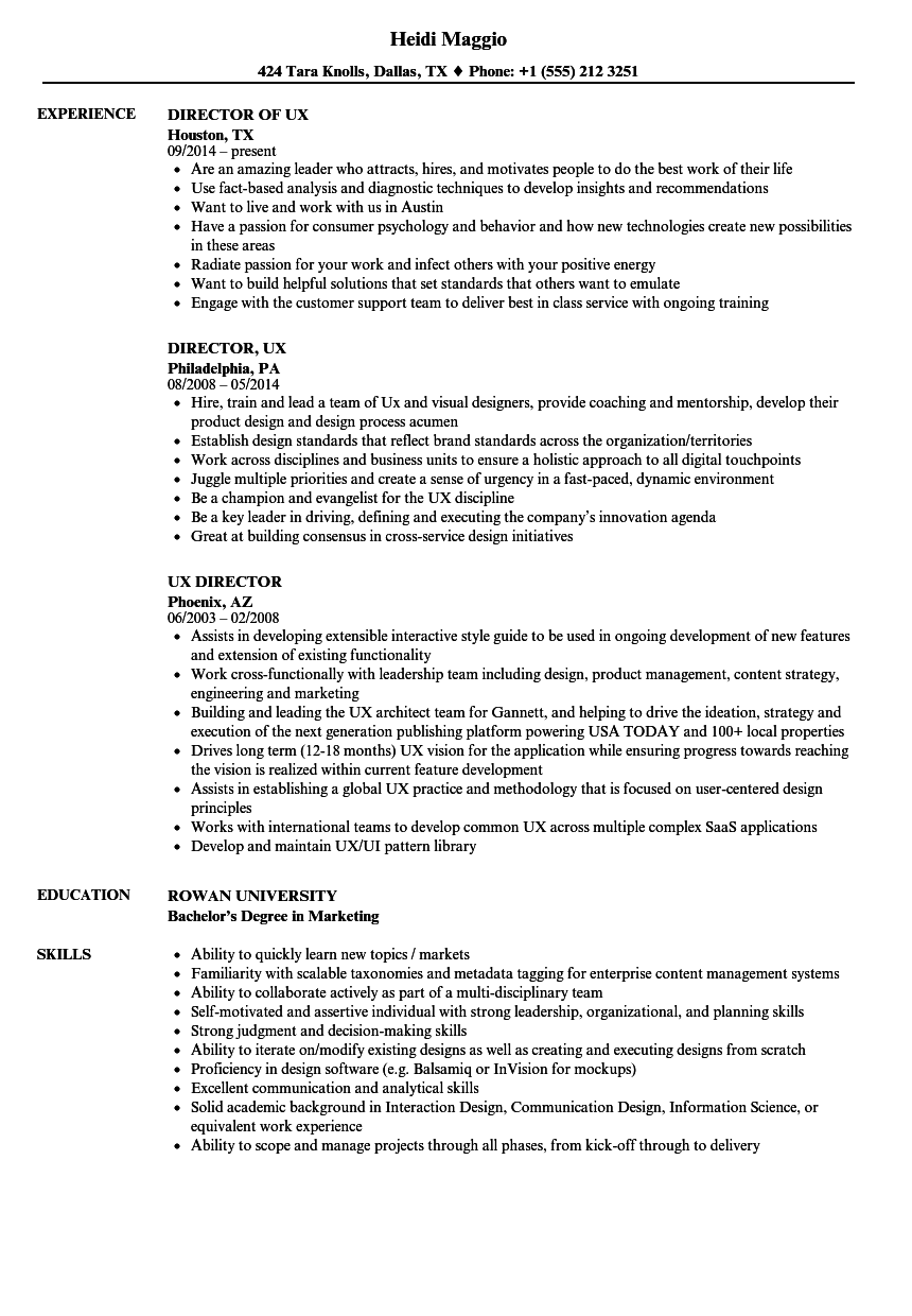 UX Director Resume Samples | Velvet Jobs