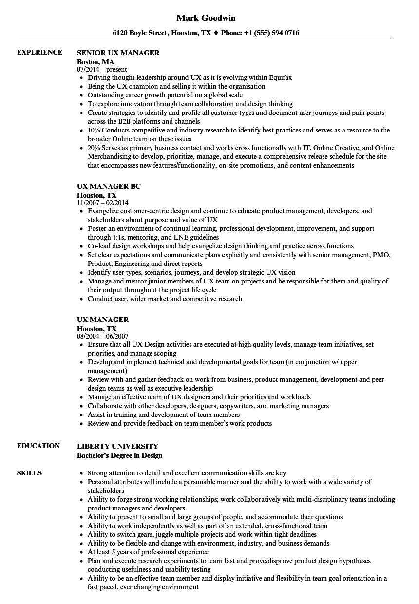 UX Manager Resume Samples   Velvet