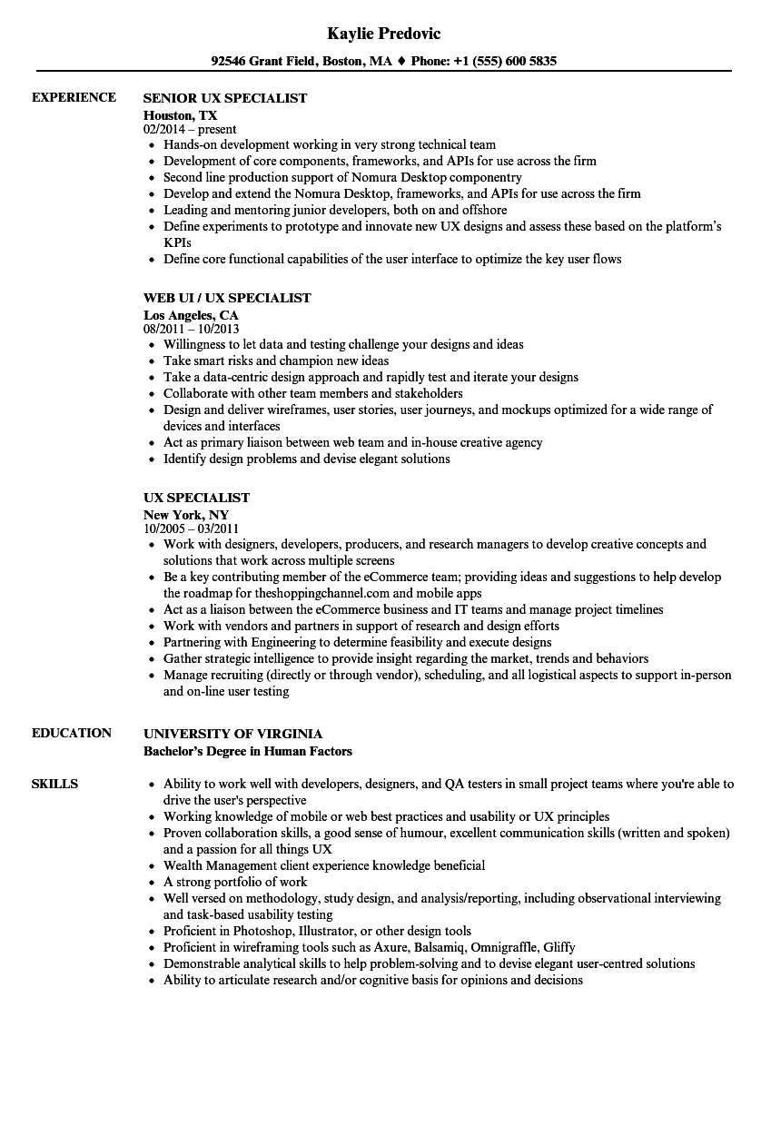 UX Specialist Resume Samples | Velvet Jobs
