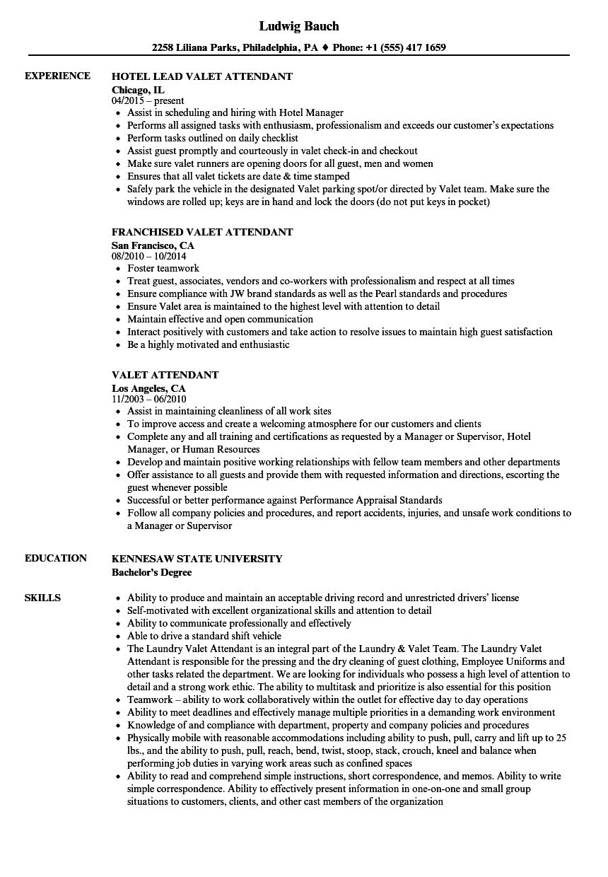 Valet Attendant Resume Samples | Velvet Jobs