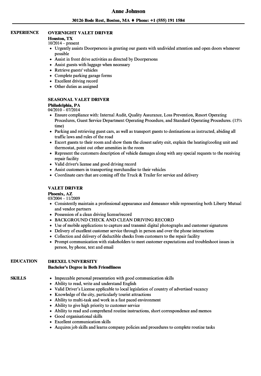 Valet Driver Resume Samples | Velvet Jobs