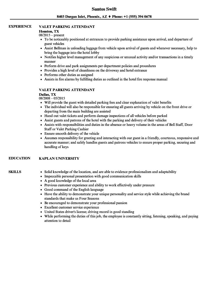Valet Parking Attendant Resume Samples Velvet Jobs