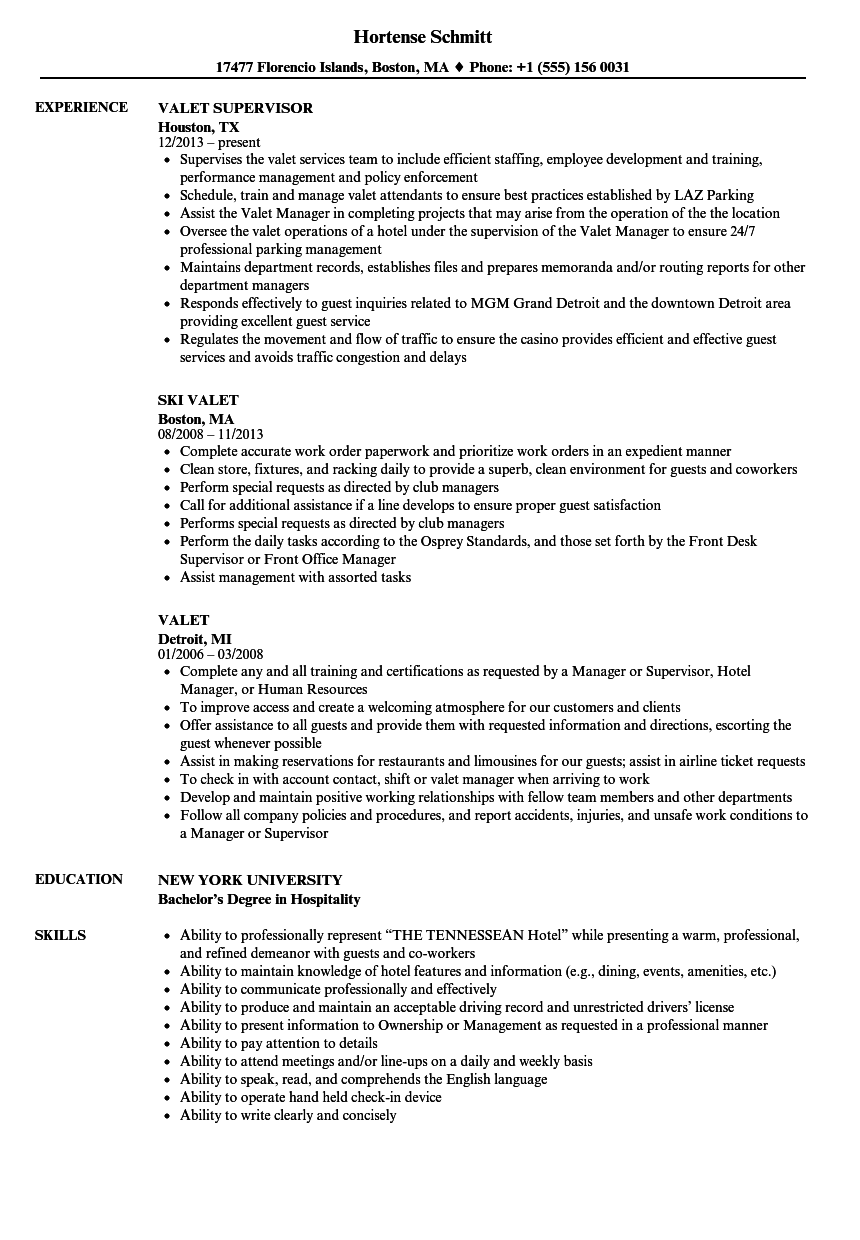 Valet Resume Samples | Velvet Jobs