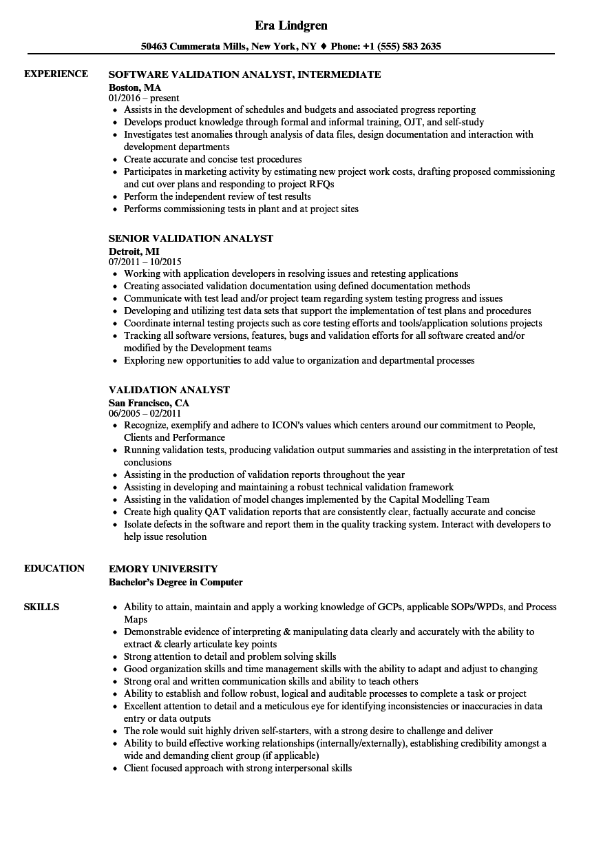 validation analyst resume samples